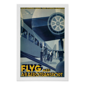 Aero Transport Vintage Travel Poster