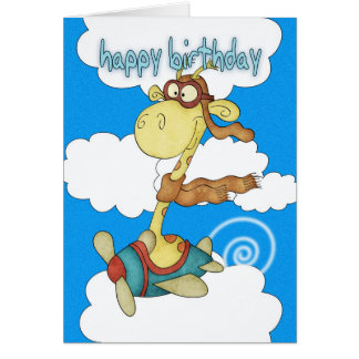 Aeroplane / Airplane Giraffe Birthday Card - Child