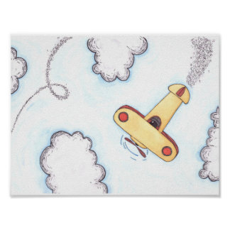Aeroplane Watercolour Poster