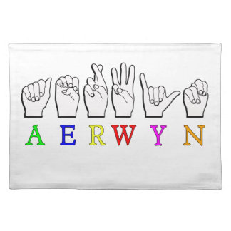 AERWYN FINGERSPELLED ASL DEAF SIGN NAME PLACEMAT