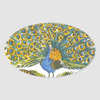Aesop s fables the peacock and the birds oval sticker