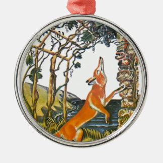 Aesop's fables, the fox and the grapes Silver-Colored round ornament
