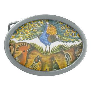 Aesop's fables, the peacock and the birds belt buckle