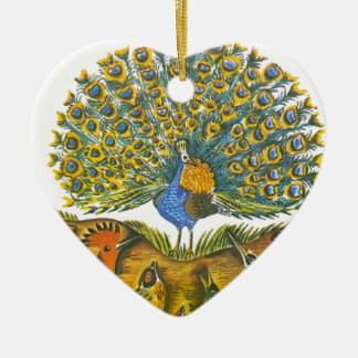 Aesop's fables, the peacock and the birds ceramic heart ornament