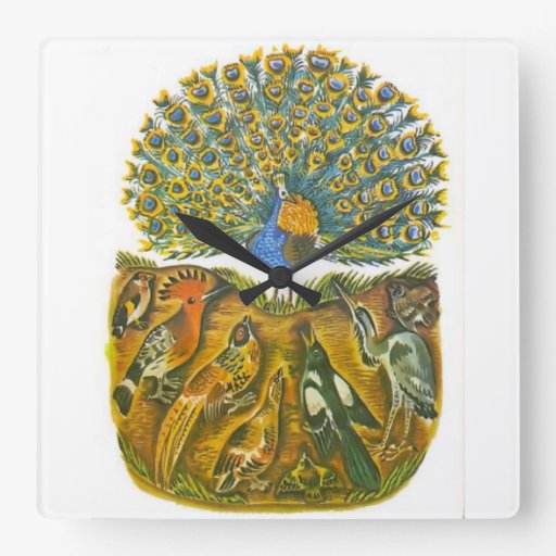 Aesop's fables, the peacock and the birds square wall clocks