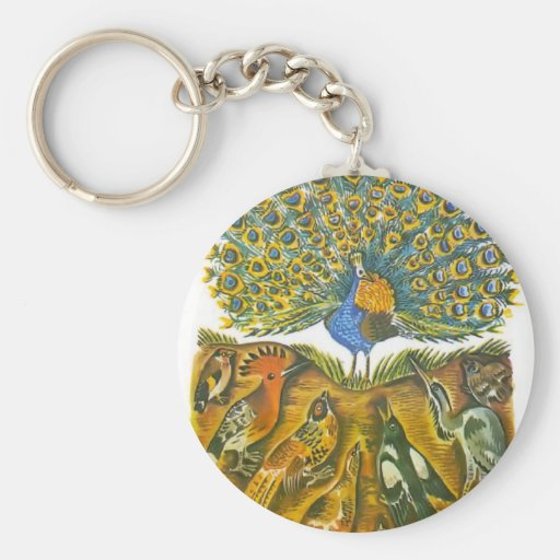 Aesop's fables, the peacock and the birds keychain