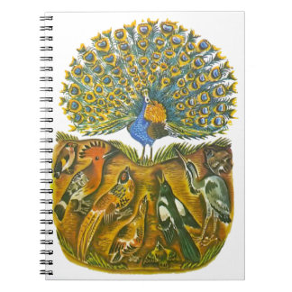 Aesop's fables, the peacock and the birds spiral notebooks