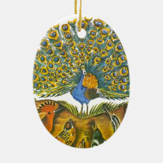 Aesop's fables, the peacock and the birds Double-Sided oval ceramic christmas ornament