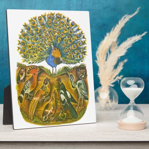 Aesop's fables, the peacock and the birds display plaque