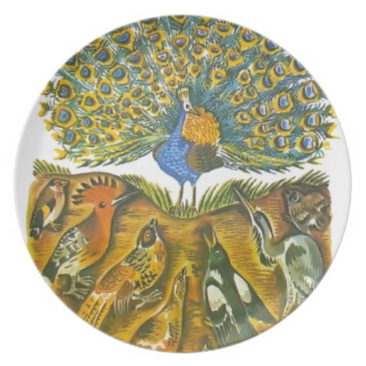 Aesop's fables, the peacock and the birds party plates