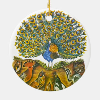 Aesop's fables, the peacock and the birds round ceramic ornament