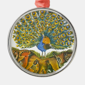 Aesop's fables, the peacock and the birds Silver-Colored round ornament