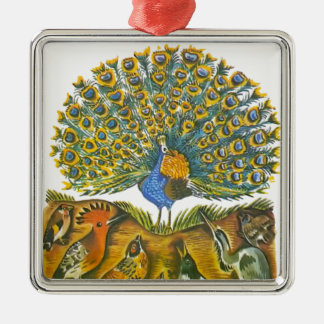 Aesop's fables, the peacock and the birds Silver-Colored square ornament