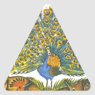 Aesop's fables, the peacock and the birds triangle sticker