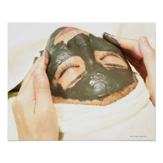 Aesthetician Who Rubs Mud Pack on Womans Face, Poster