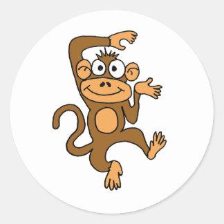 AF- Happy Dancing Monkey Round Sticker