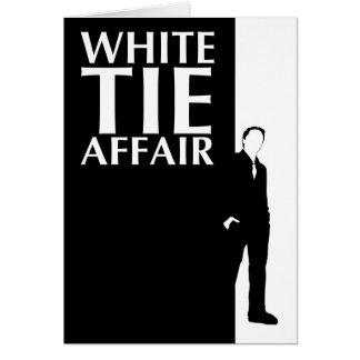 affaire de cravate blanche : silhouette sérieuse carte de vœux