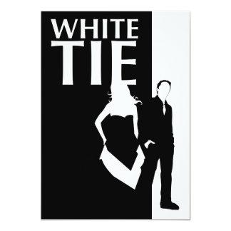 affaire de cravate blanche : silhouette sérieuse carton d'invitation  12,7 cm x 17,78 cm