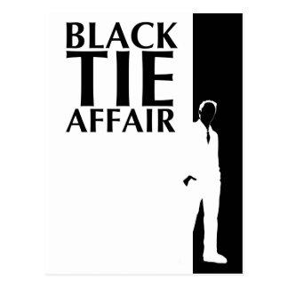 affaire de cravate noire : silhouette sérieuse cartes postales