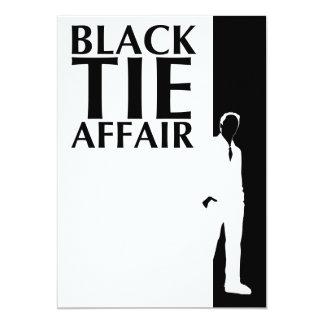 affaire de cravate noire : silhouette sérieuse carton d'invitation  12,7 cm x 17,78 cm
