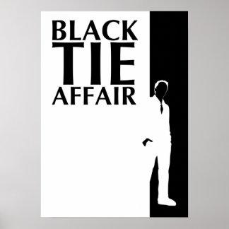 affaire de cravate noire : silhouette sérieuse poster
