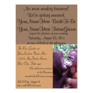 Affaires de singe mignonnes que nous nous marions carton d'invitation  13,97 cm x 19,05 cm
