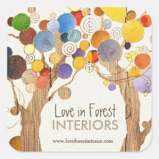 Affaires en bois rustiques d'arbres d'amour sticker carré