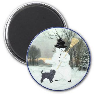 Affenpinscher and Snowman Magnet