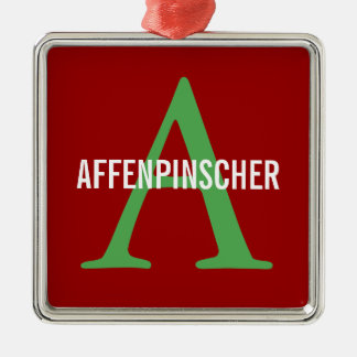Affenpinscher Breed Monogram Design Silver-Colored Square Ornament