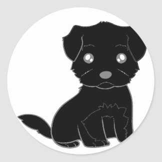 affenpinscher cartoon round sticker