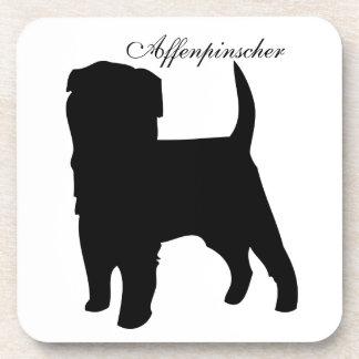 Affenpinscher dog black silhouette coaster