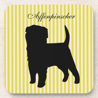 Affenpinscher dog green & pink stripes coaster