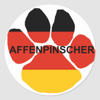 affenpinscher germany-flag paw round sticker