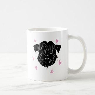 Affenpinscher portrait with hearts coffee mug