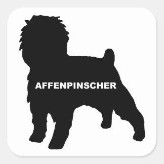 Affenpinscher silo black name square sticker