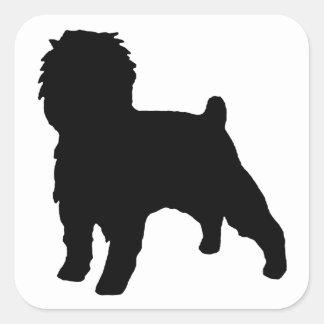 Affenpinscher silo black square sticker