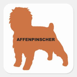 Affenpinscher silo red name square sticker