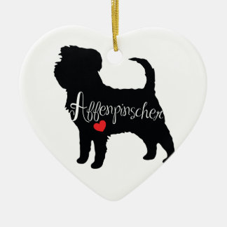 Affenpinscher with Heart Dog Breed Puppy Love Ceramic Heart Ornament