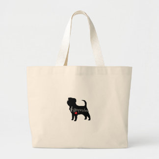 Affenpinscher with Heart Dog Breed Puppy Love Large Tote Bag