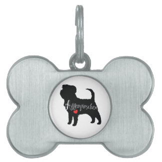 Affenpinscher with Heart Dog Breed Puppy Love Pet Name Tag