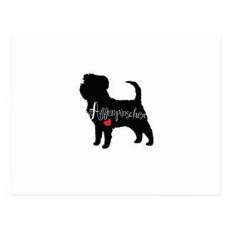 Affenpinscher with Heart Dog Breed Puppy Love Postcard