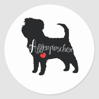 Affenpinscher with Heart Dog Breed Puppy Love Round Sticker