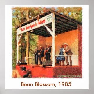 Affiche 1985 de danse de Bill Monroe de fleur