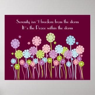 Affiche assez rétro de fleurs et de papillons de s