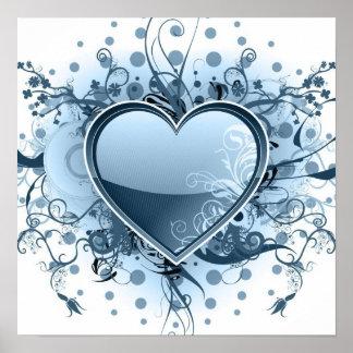 Affiche bleue de coeur d'Emo