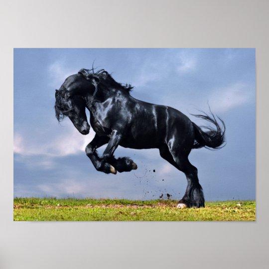 A1 Frison Cheval Noir Poster Art Print 60 x 90 cm 180gsm /étalon Cadeau # 12540