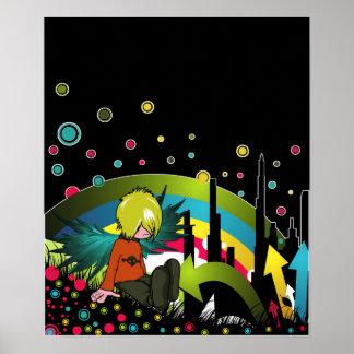 Affiche/copie :  Garçon d'Emo sous l'arc-en-ciel a