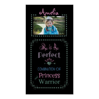 Affiche customisée de princesse/guerrier