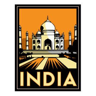 affiche d art déco du Taj Mahal Inde rétro Carte Postale