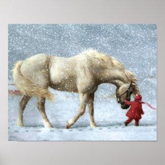 Affiche d hiver de cheval et de fille